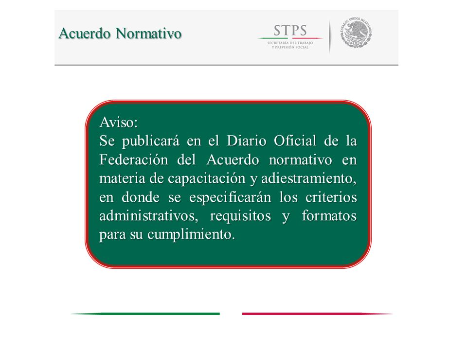 Acuerdo Normativo Aviso: