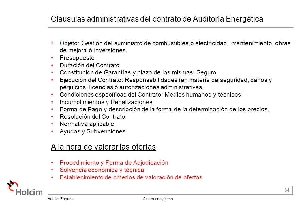 Clausulas administrativas del contrato de Auditoría Energética