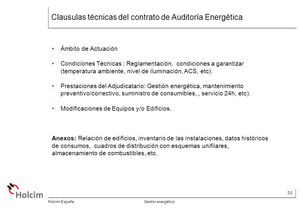 Clausulas técnicas del contrato de Auditoría Energética
