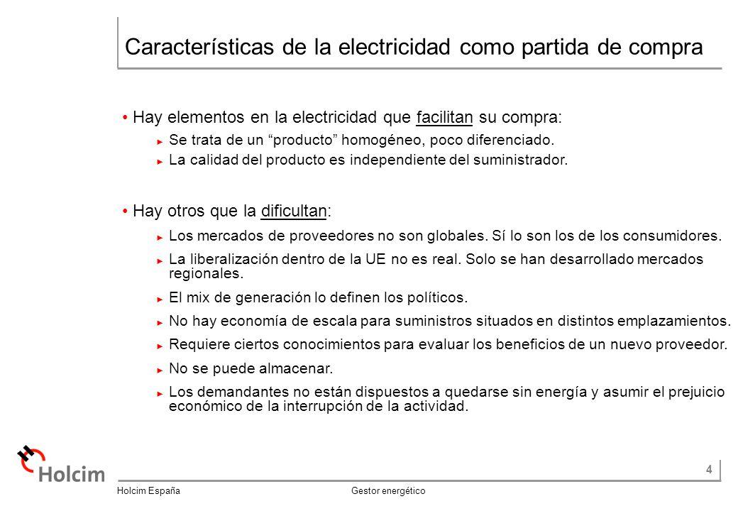 Características de la electricidad como partida de compra