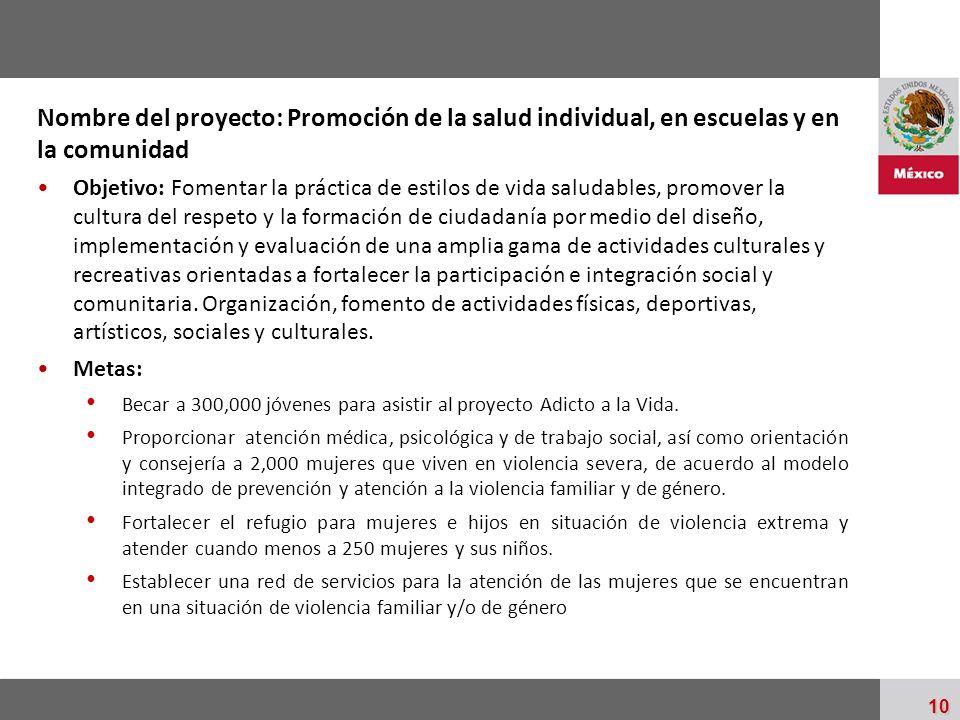 Nombre del proyecto: Promoción de la salud individual, en escuelas y en la comunidad