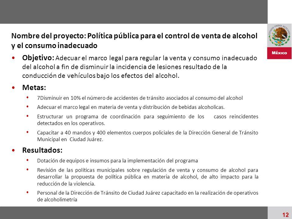Nombre del proyecto: Política pública para el control de venta de alcohol y el consumo inadecuado