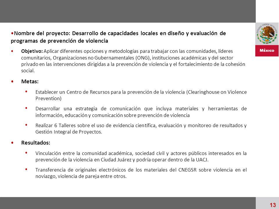 Nombre del proyecto: Desarrollo de capacidades locales en diseño y evaluación de programas de prevención de violencia