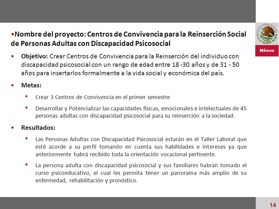 Nombre del proyecto: Centros de Convivencia para la Reinserción Social de Personas Adultas con Discapacidad Psicosocial