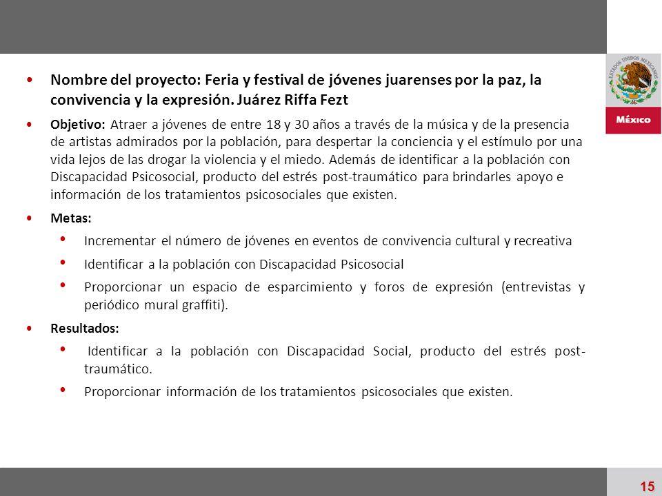 Nombre del proyecto: Feria y festival de jóvenes juarenses por la paz, la convivencia y la expresión. Juárez Riffa Fezt