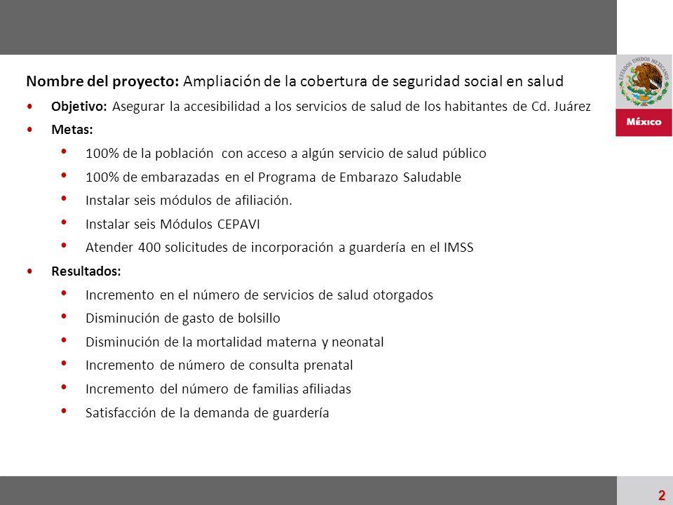 Nombre del proyecto: Ampliación de la cobertura de seguridad social en salud