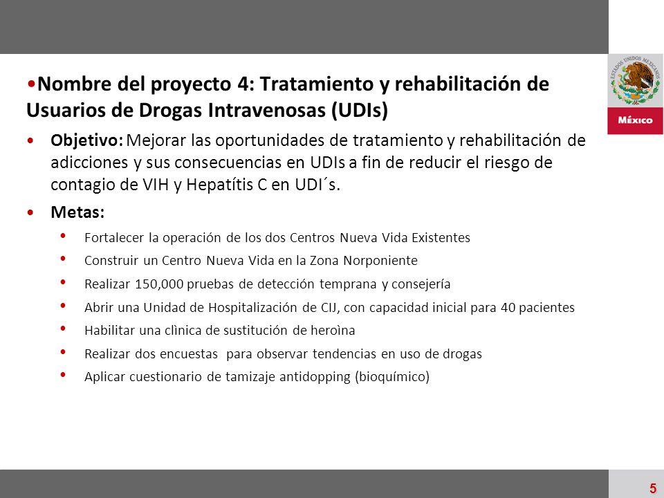 Nombre del proyecto 4: Tratamiento y rehabilitación de Usuarios de Drogas Intravenosas (UDIs)