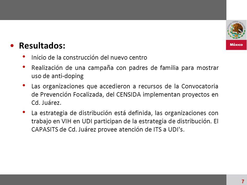 Resultados: Inicio de la construcción del nuevo centro
