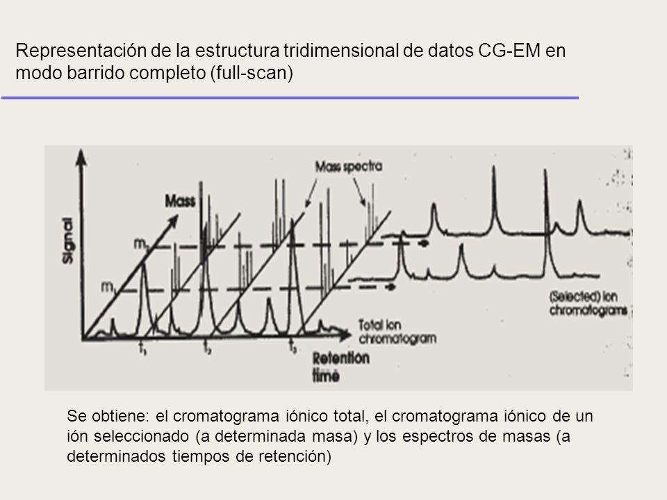 Representación de la estructura tridimensional de datos CG-EM en modo barrido completo (full-scan)