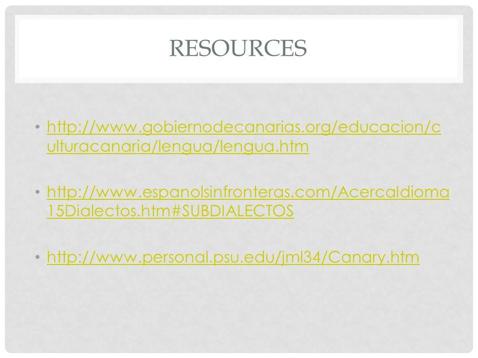 REsources http://www.gobiernodecanarias.org/educacion/culturacanaria/lengua/lengua.htm.