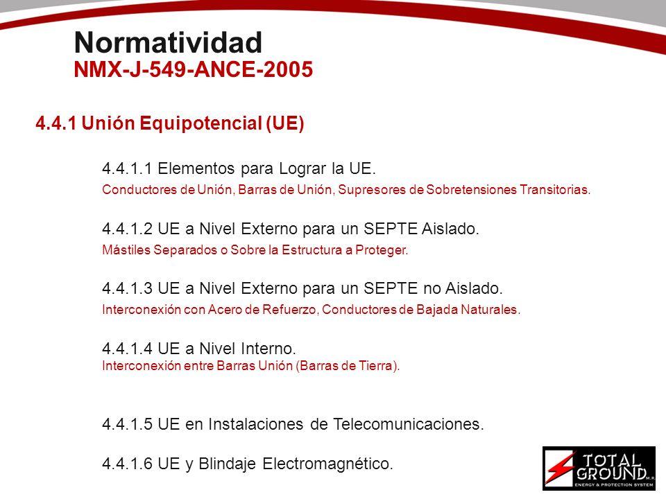 Normatividad NMX-J-549-ANCE-2005 4.4.1 Unión Equipotencial (UE)