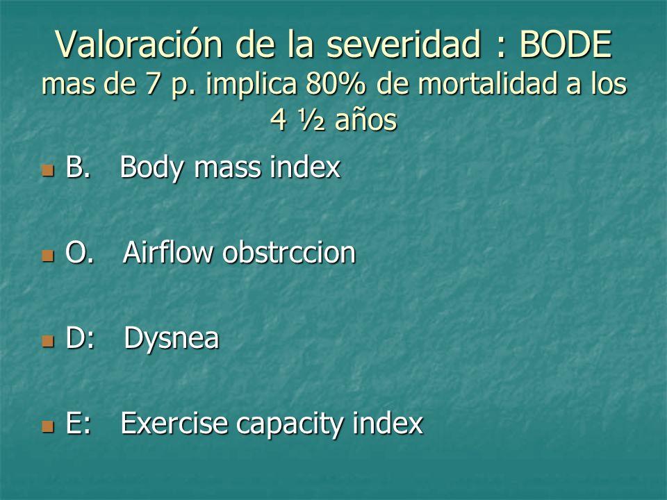 Valoración de la severidad : BODE mas de 7 p