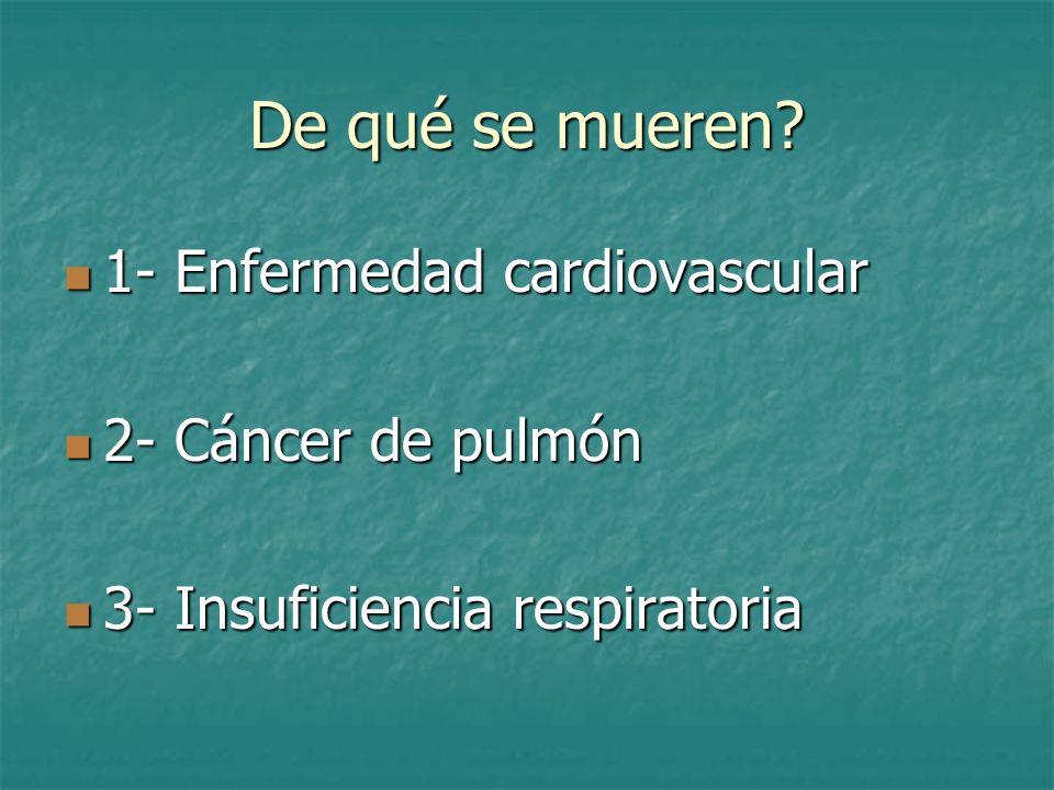 De qué se mueren 1- Enfermedad cardiovascular 2- Cáncer de pulmón