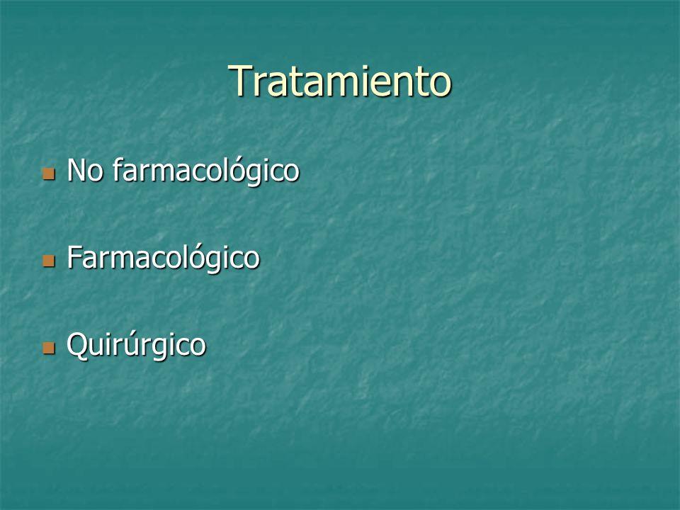 Tratamiento No farmacológico Farmacológico Quirúrgico