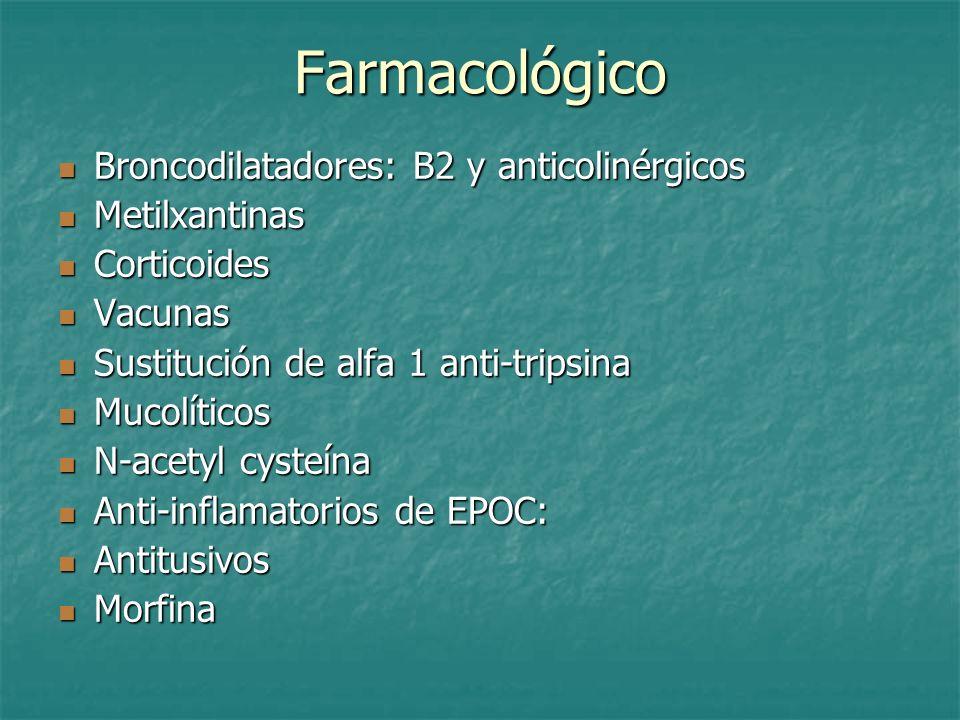 Farmacológico Broncodilatadores: B2 y anticolinérgicos Metilxantinas