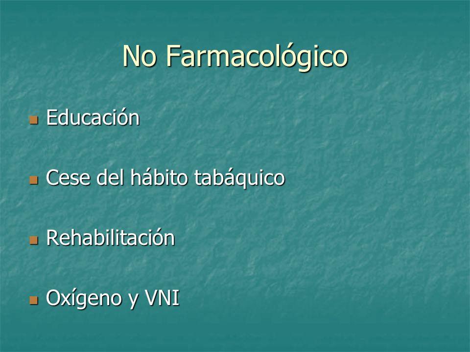 No Farmacológico Educación Cese del hábito tabáquico Rehabilitación