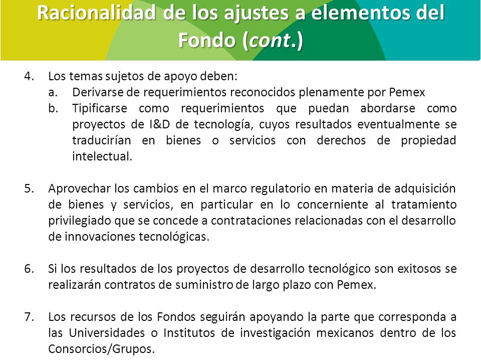 Racionalidad de los ajustes a elementos del Fondo (cont.)