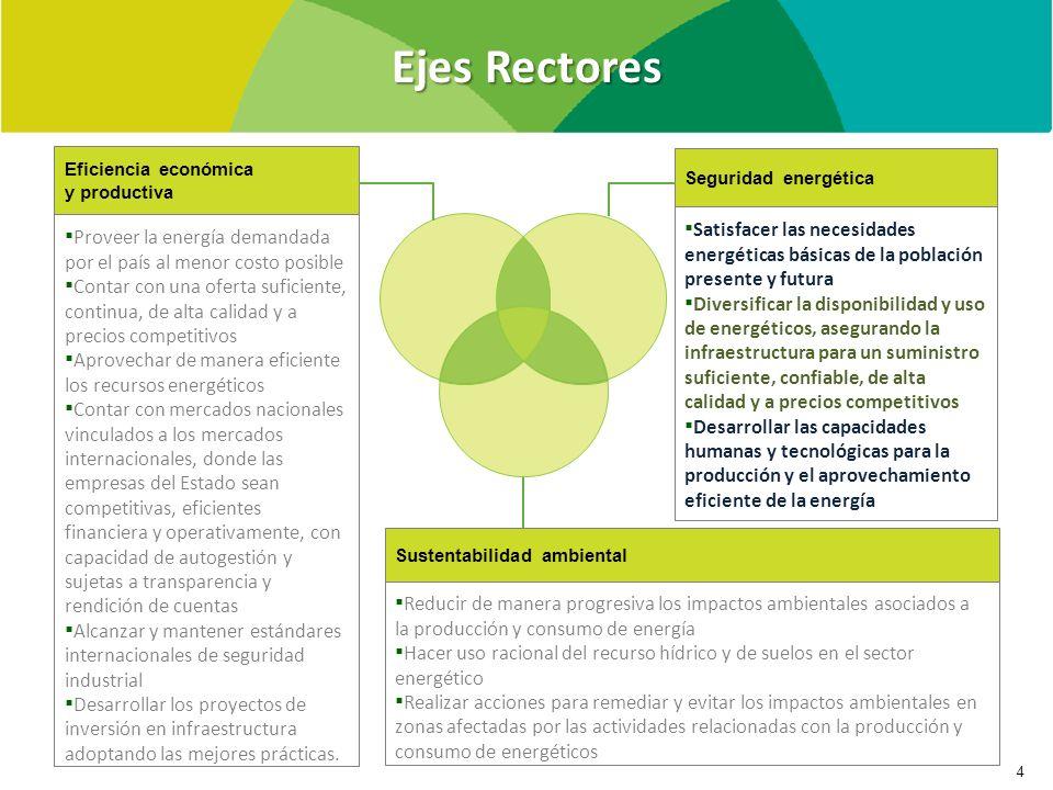Ejes Rectores Eficiencia económica y productiva. Proveer la energía demandada por el país al menor costo posible.