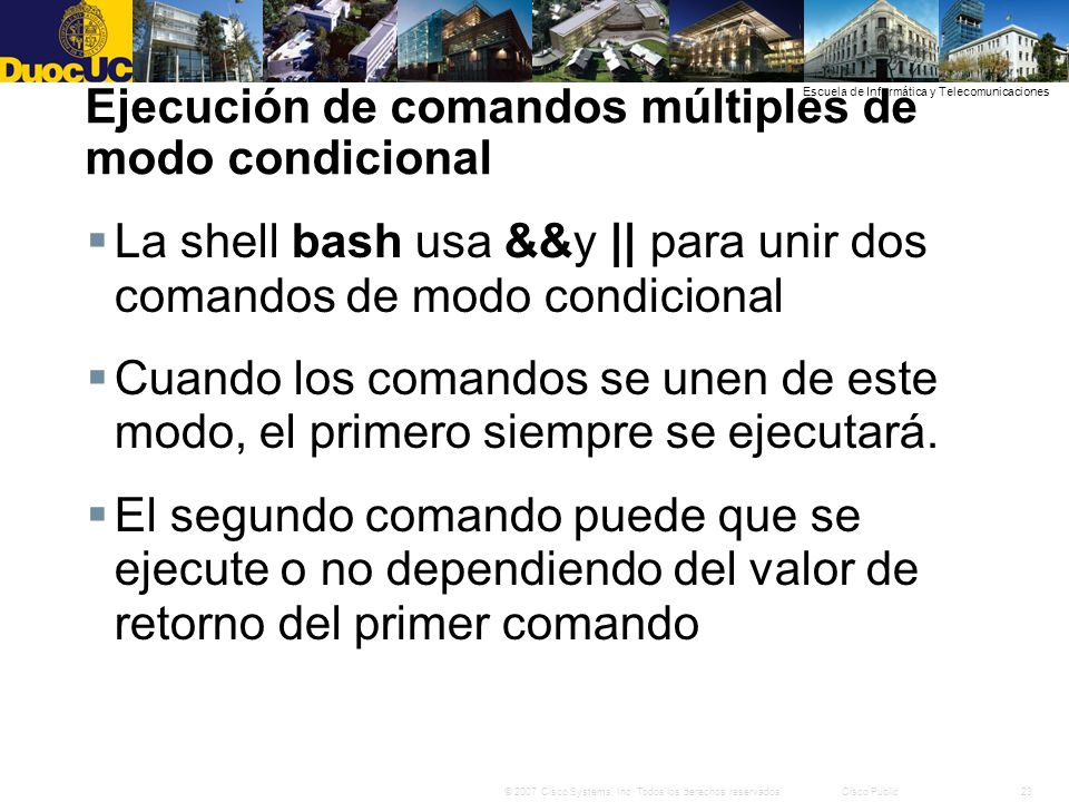 Ejecución de comandos múltiples de modo condicional