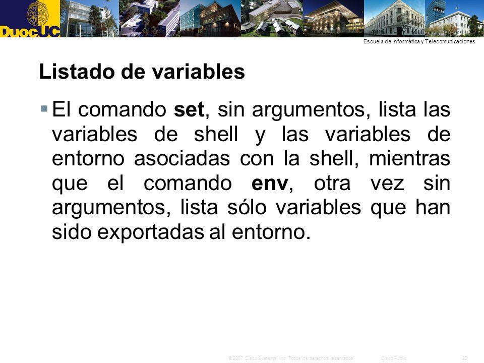Listado de variables