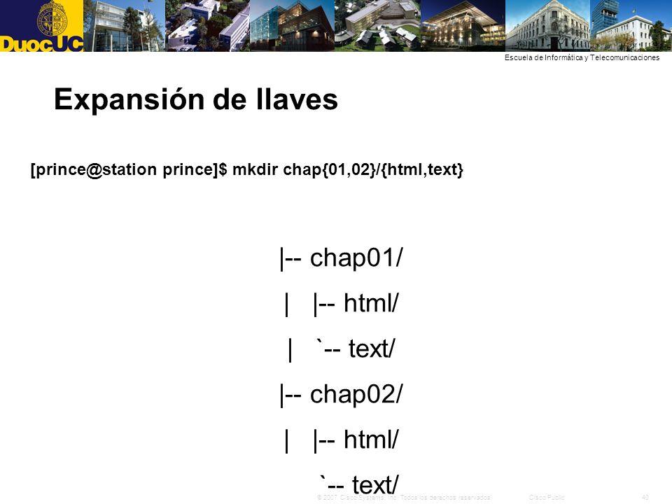 Expansión de llaves |-- chap01/ | |-- html/ | `-- text/ |-- chap02/