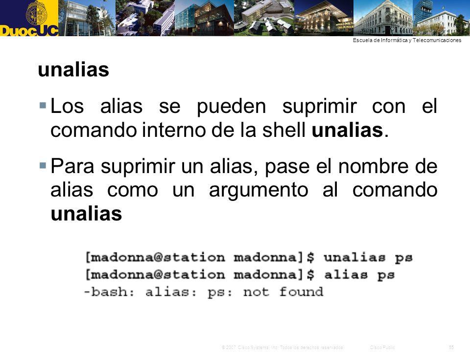 unalias Los alias se pueden suprimir con el comando interno de la shell unalias.