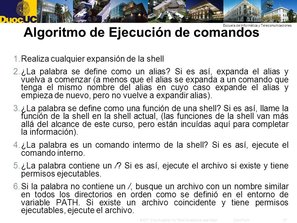 Algoritmo de Ejecución de comandos