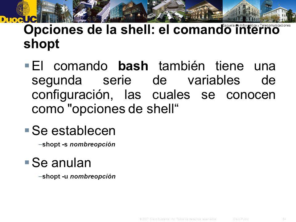 Opciones de la shell: el comando interno shopt