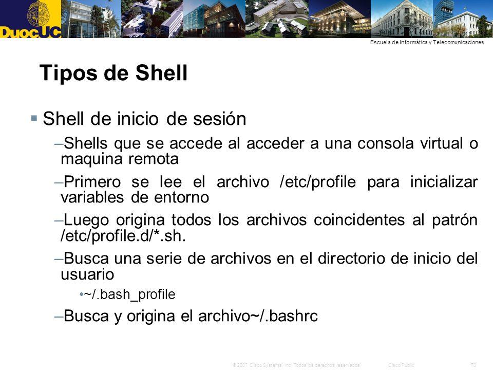 Tipos de Shell Shell de inicio de sesión