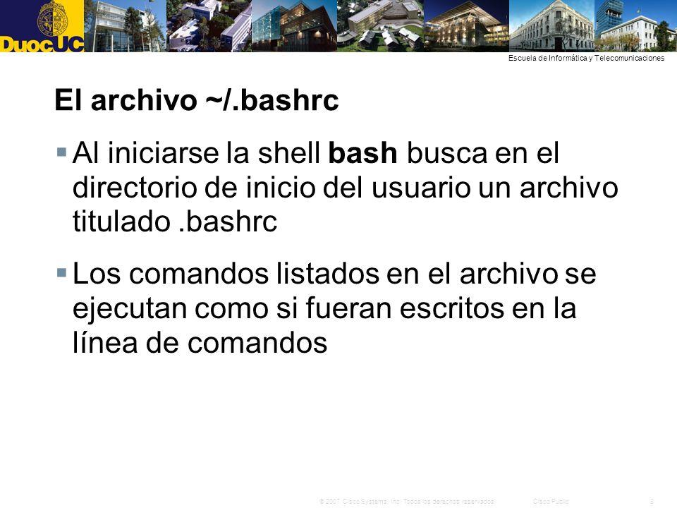 El archivo ~/.bashrc Al iniciarse la shell bash busca en el directorio de inicio del usuario un archivo titulado .bashrc.