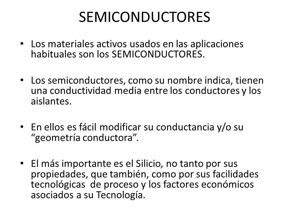SEMICONDUCTORES Los materiales activos usados en las aplicaciones habituales son los SEMICONDUCTORES.