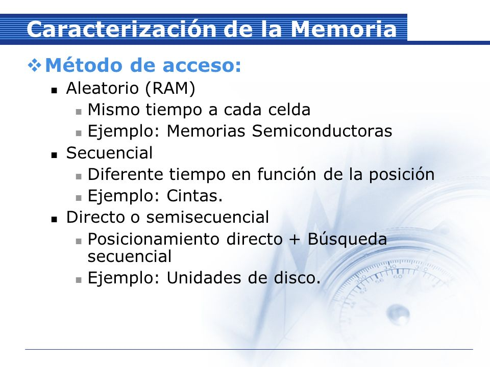 Caracterización de la Memoria