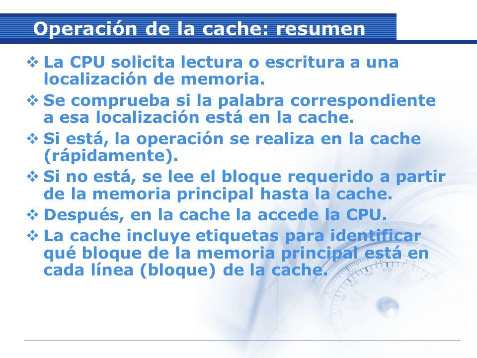 Operación de la cache: resumen