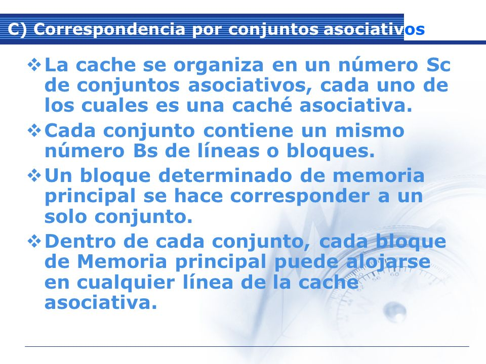 C) Correspondencia por conjuntos asociativos