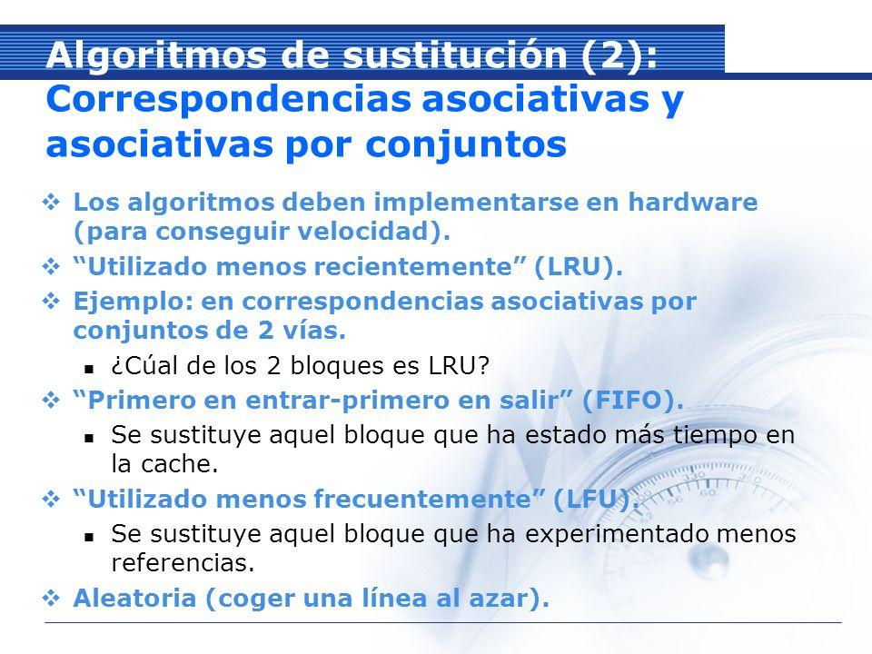 Algoritmos de sustitución (2): Correspondencias asociativas y asociativas por conjuntos