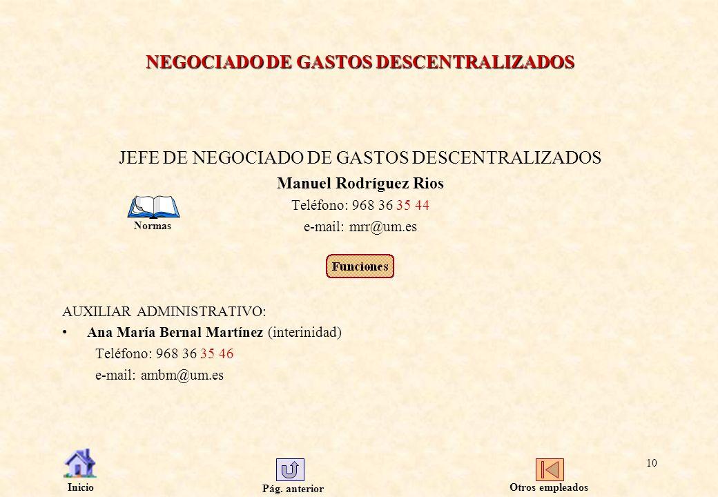 NEGOCIADO DE GASTOS DESCENTRALIZADOS