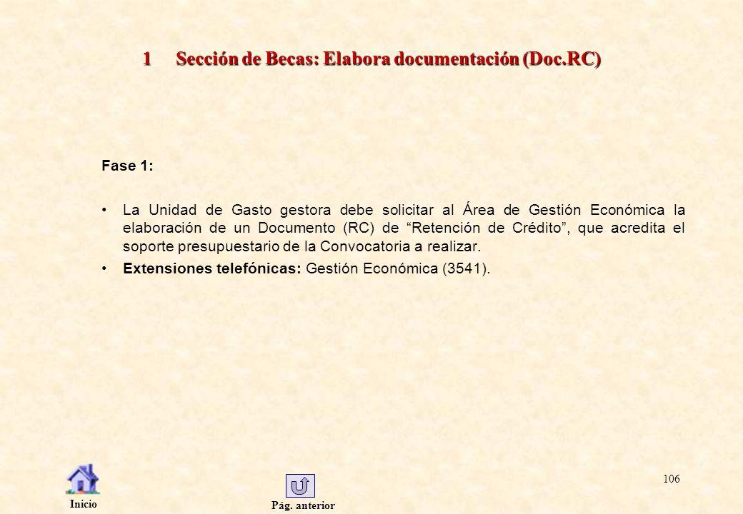 1 Sección de Becas: Elabora documentación (Doc.RC)