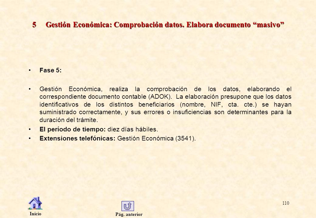 5 Gestión Económica: Comprobación datos. Elabora documento masivo
