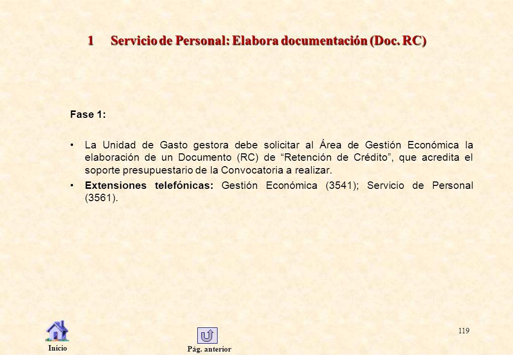 1 Servicio de Personal: Elabora documentación (Doc. RC)