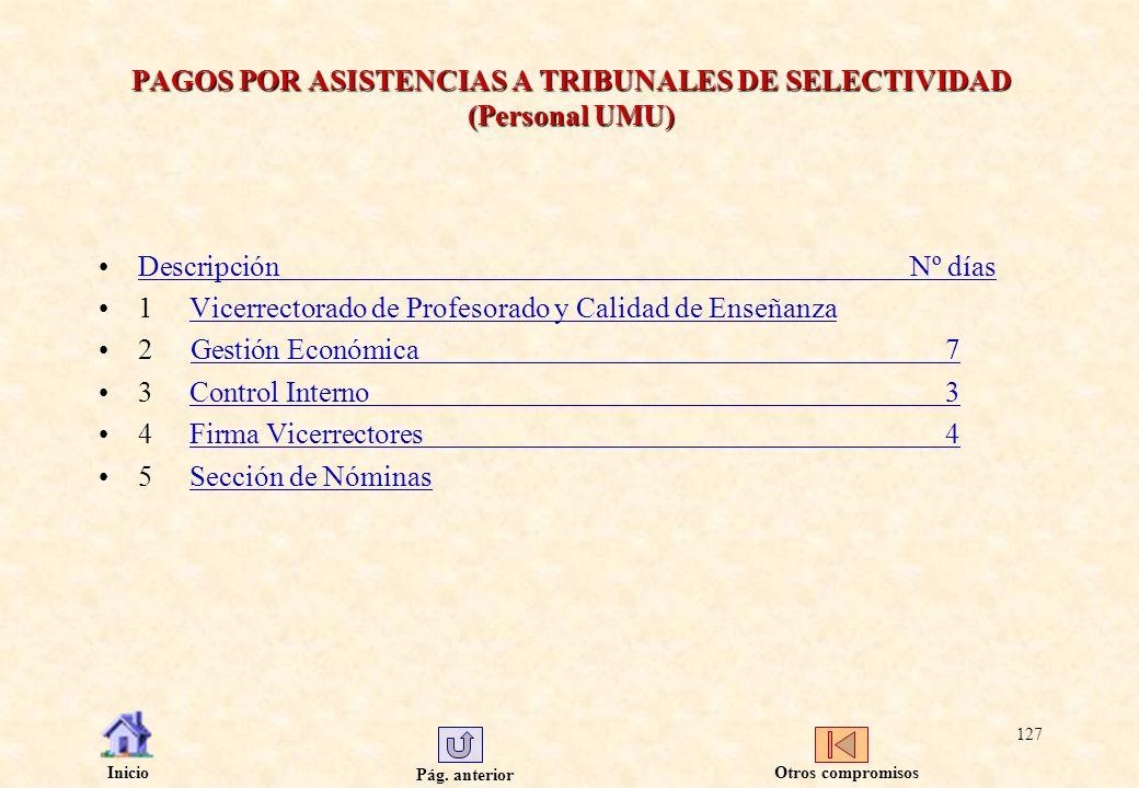PAGOS POR ASISTENCIAS A TRIBUNALES DE SELECTIVIDAD (Personal UMU)