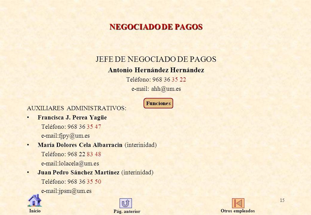 JEFE DE NEGOCIADO DE PAGOS