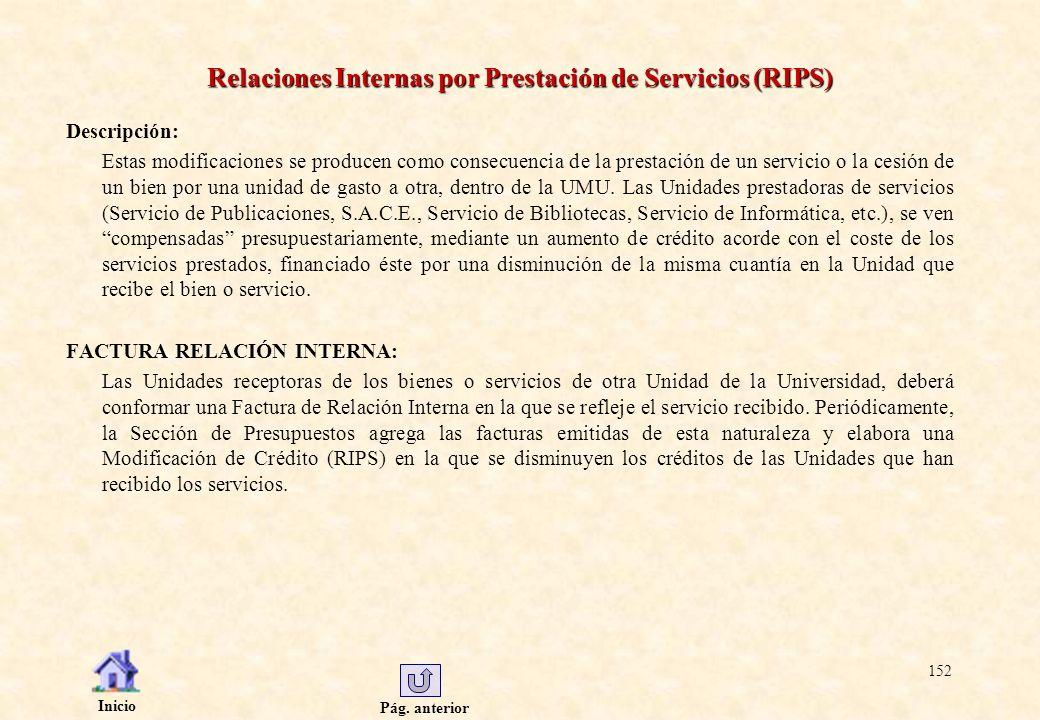 Relaciones Internas por Prestación de Servicios (RIPS)