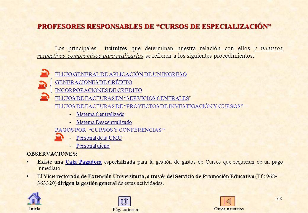 PROFESORES RESPONSABLES DE CURSOS DE ESPECIALIZACIÓN