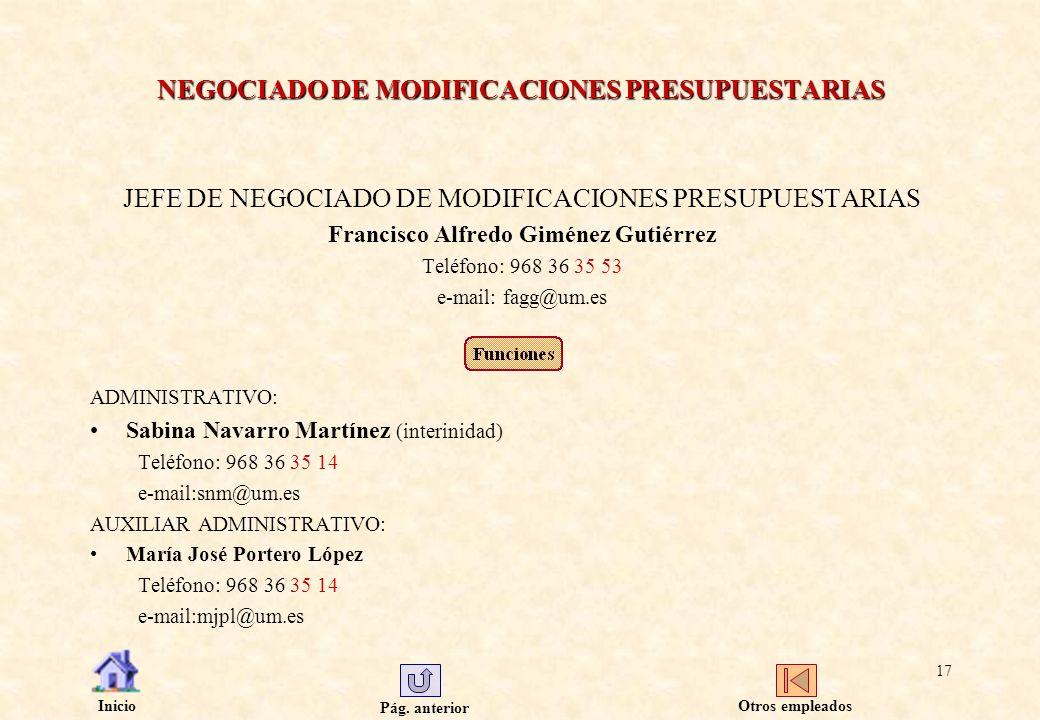 NEGOCIADO DE MODIFICACIONES PRESUPUESTARIAS