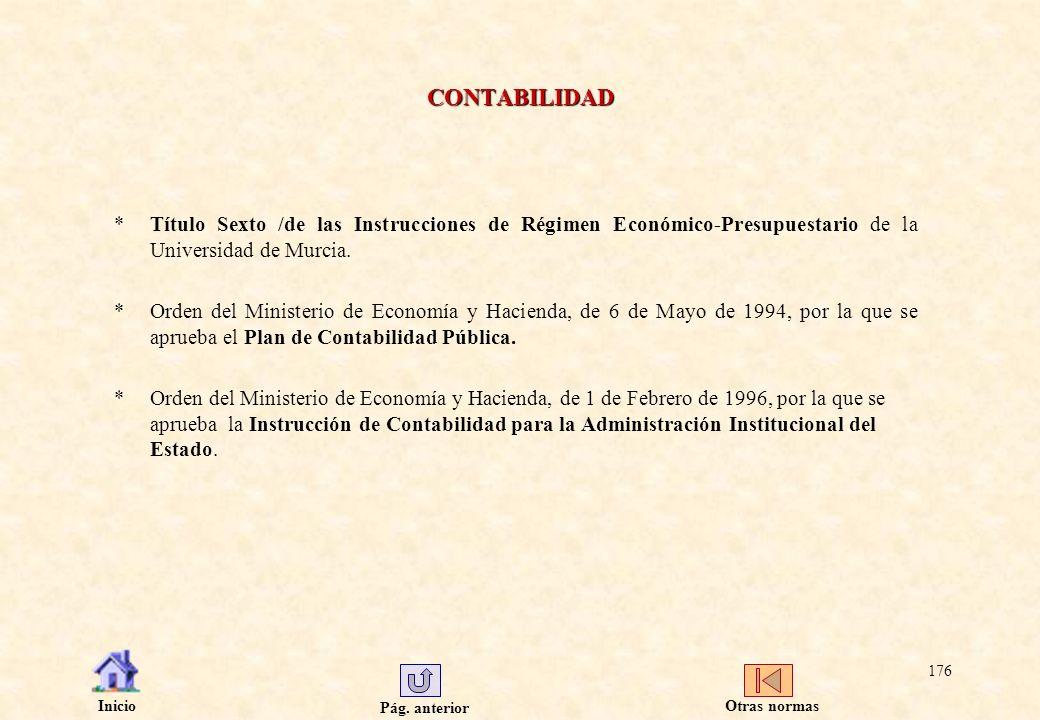 CONTABILIDAD Título Sexto /de las Instrucciones de Régimen Económico-Presupuestario de la Universidad de Murcia.