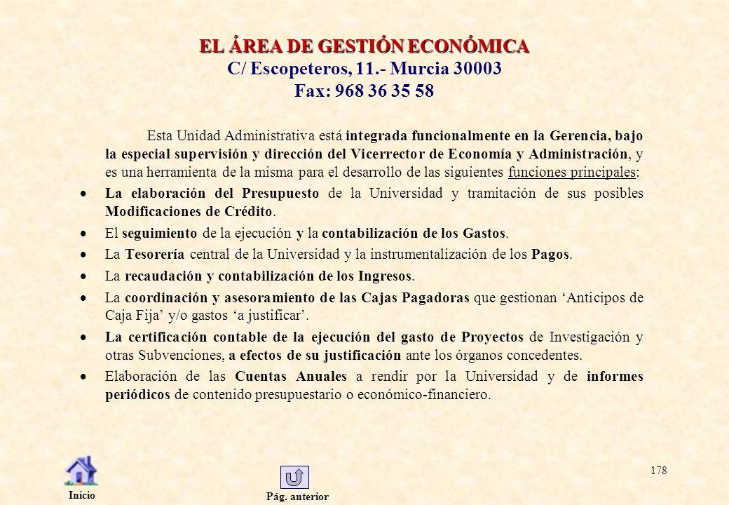 EL ÁREA DE GESTIÓN ECONÓMICA C/ Escopeteros, 11