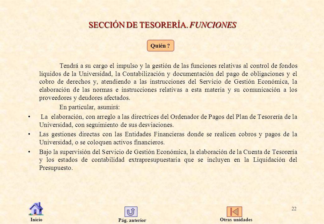SECCIÓN DE TESORERÍA. FUNCIONES