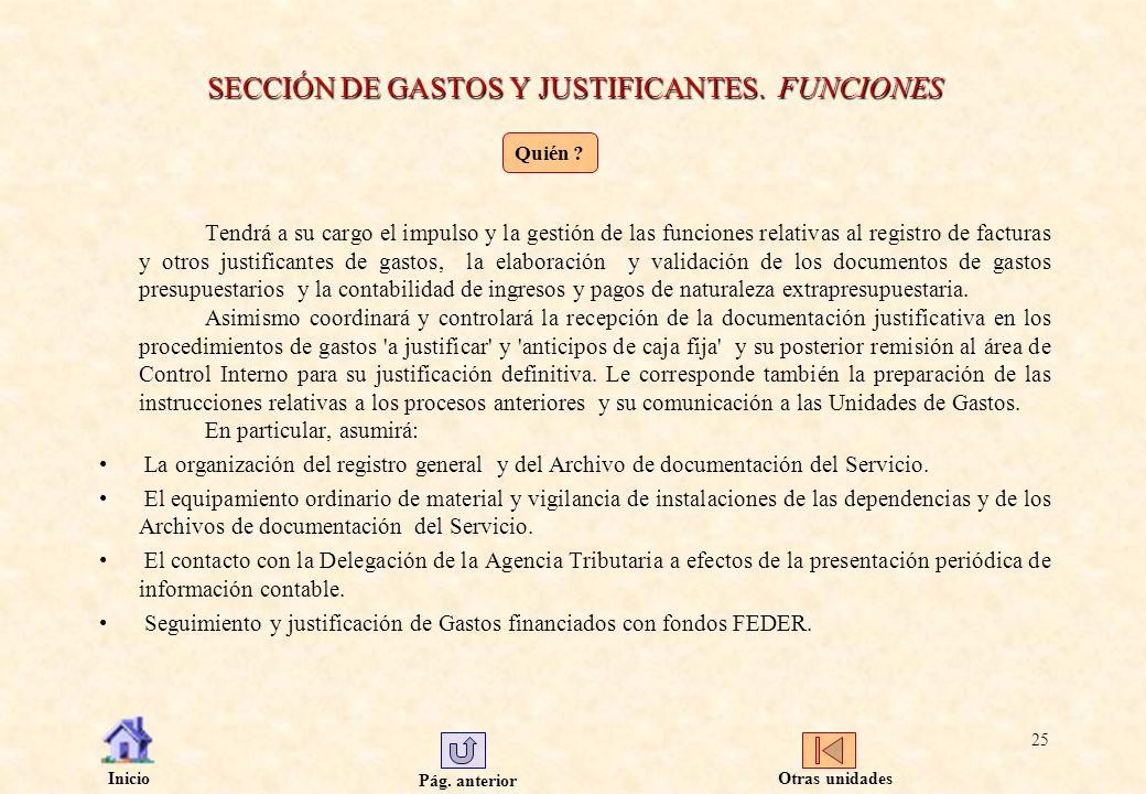 SECCIÓN DE GASTOS Y JUSTIFICANTES. FUNCIONES