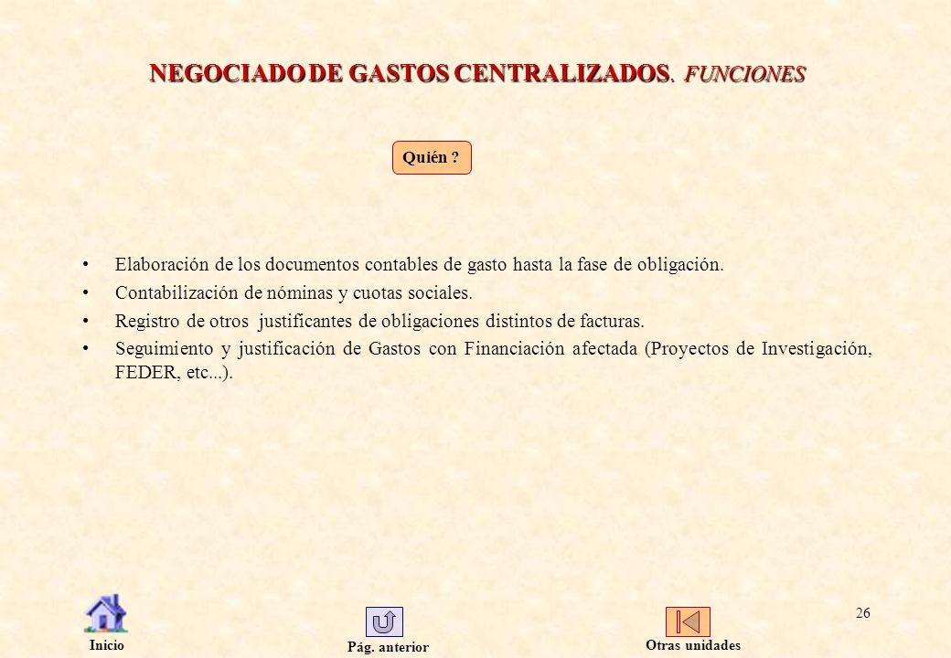 NEGOCIADO DE GASTOS CENTRALIZADOS. FUNCIONES