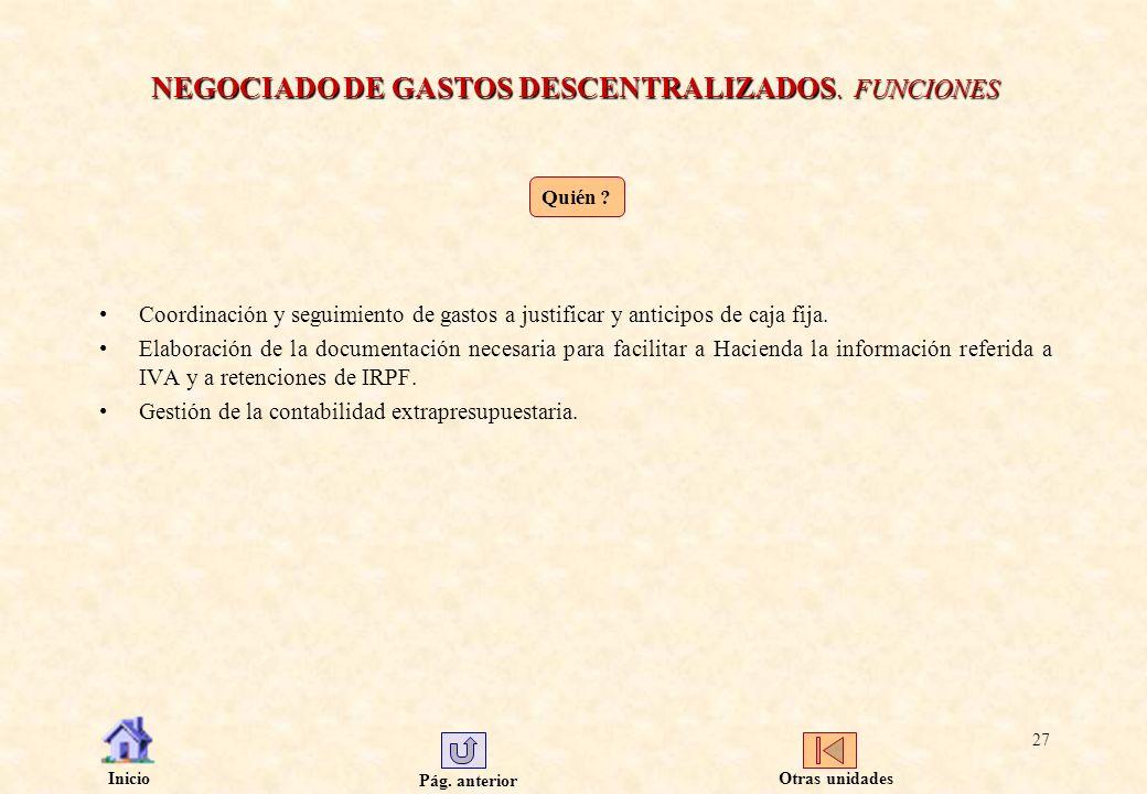 NEGOCIADO DE GASTOS DESCENTRALIZADOS. FUNCIONES
